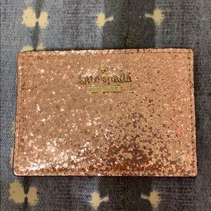 Kate Spade Rose Gold Glitter Card Case